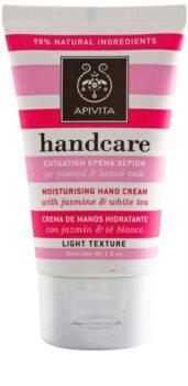 Apivita Hand Care Jasmine & White Tea leichte feuchtigkeitsspendende Creme für die Hände