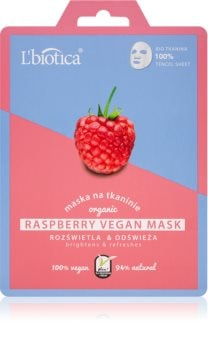L'biotica Vegan Organic Raspberry maschera viso illuminante in tessuto