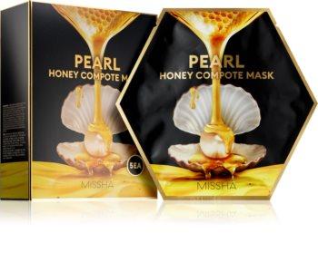 Missha Honey Compote Mask Pearl plátýnková maska pro rozjasnění a vitalitu pleti 5 ks