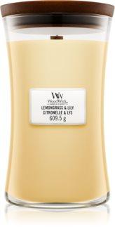 Woodwick Lemongrass & Lily vonná sviečka s dreveným knotom