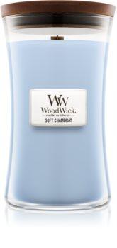 Woodwick Soft Chambray vonná sviečka s dreveným knotom