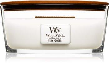 Woodwick Baby Powder vonná sviečka s dreveným knotom (hearthwick)