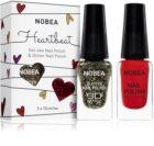NOBEA Heartbeat sada barevný a třpytivý lak na nehty Festive Red odstín