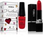 NOBEA Heartbeat conjunto de esmalte de uñas y barra de labios hidratante Festive Red tono