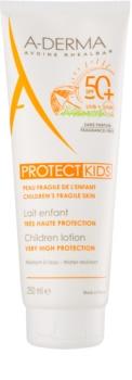 A-Derma Protect Kids защитно мляко за загар за деца SPF 50+