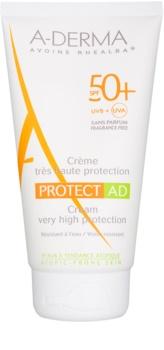 A-Derma Protect AD schützende Bräunungscreme für neurodermitische Haut SPF 50+