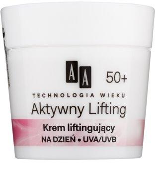AA Cosmetics Age Technology Active Lifting  creme de alisamento para reafirmar os contornos faciais 50+