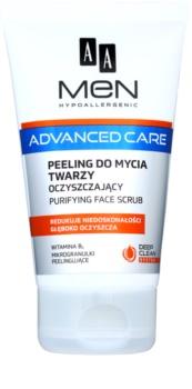 AA Cosmetics Men Advanced Care tisztító peelinges gél az arcra