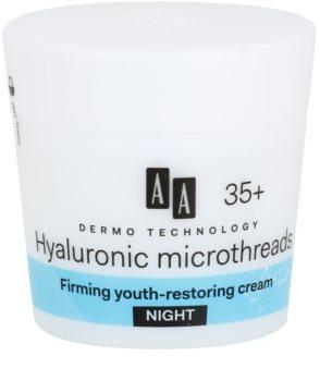 AA Cosmetics Dermo Technology Hyaluronic Microthreads creme de noite alisante e de rejuvenescimento 35+