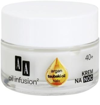 AA Cosmetics Oil Infusion2 Argan Tsubaki 40+ regenerujący krem na noc o działaniu przeciwzmarszczkowym