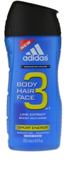 Adidas A3 Sport Energy gel de banho para homens 3 em 1