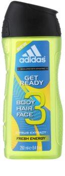 Adidas Get Ready! gel de douche 3 en 1 pour homme