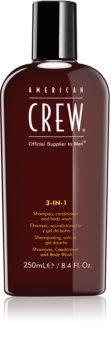 American Crew Hair & Body 3-IN-1 sampon, balsam si gel de dus 3in1 pentru barbati