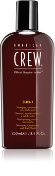 American Crew Hair & Body 3-IN-1 shampoing, après-shampoing et gel douche 3 en 1 pour homme