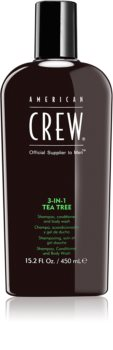 American Crew Hair & Body 3-IN-1 Tea Tree champô, condicionador e gel de duche 3 em 1 para homens