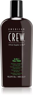 American Crew Hair & Body 3-IN-1 Tea Tree Shampoo, Balsam og Brusegel 3-i-1 til mænd