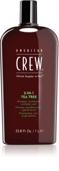 American Crew Hair & Body 3-IN-1 Tea Tree sampon, balsam si gel de dus 3in1 pentru barbati