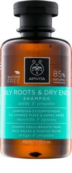 Apivita Holistic Hair Care Nettle & Propolis Sampon pentru scalp gras si fire de par cu terminatii uscate