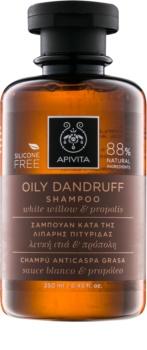 Apivita Holistic Hair Care White Willow & Propolis champú anticaspa para cabello graso