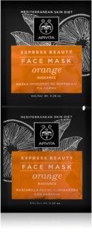 Apivita Express Beauty Orange revitalizacijska in posvetlitvena maska za obraz