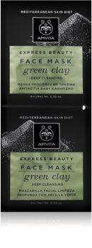 Apivita Express Beauty Green Clay masca pentru curatare profunda pentru o piele mai luminoasa