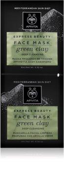 Apivita Express Beauty Green Clay дълбоко почистваща маска за лице за озаряване на лицето