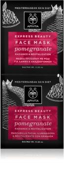 Apivita Express Beauty Pomegranate Maschere viso per donna 2x8 ml maschera rivitalizzante viso effetto illuminante immediato