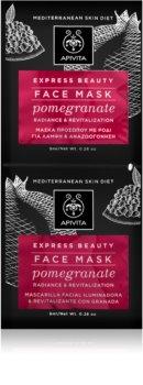 Apivita Express Beauty Pomegranate revitalizacijska maska za obraz za takojšnjo posvetlitev