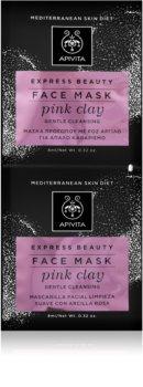 Apivita Express Beauty Pink Clay нежна почистваща маска за лице за мигновено озаряване