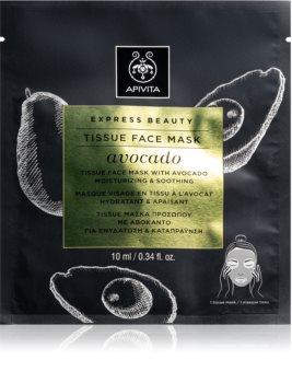 Apivita Express Beauty Avocado платнена маска за лице с хидратиращ и успокояващ ефект