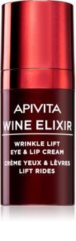 Apivita Wine Elixir Santorini Vine Ryppyjä Ehkäisevä Voide Silmien ja Huulten Alueelle Kohottavalla Vaikutuksella