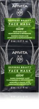 Apivita Express Beauty Aloe feuchtigkeitsspendende Gesichtsmaske mit Aloe Vera