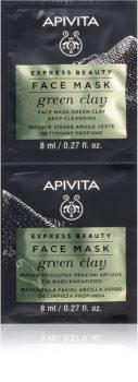 Apivita Express Beauty Green Clay Reinigende und glättende Gesichtsmaske mit grünem Ton