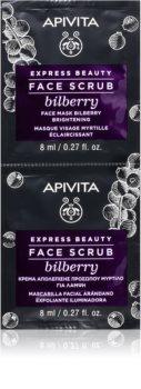 Apivita Express Beauty Bilberry exfoliante limpiador intensivo para iluminar la piel