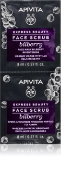 Apivita Express Beauty Bilberry intenzivni čistilni piling za osvetlitev kože