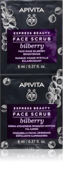 Apivita Express Beauty Bilberry интензивен почистващ пилинг за озаряване на лицето