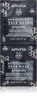Apivita Express Beauty Propolis czarna maska oczyszczająca do skóry  tłustej