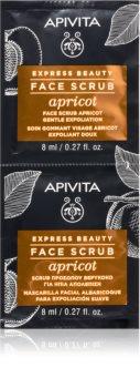 Apivita Express Beauty Apricot exfoliante limpiador suave para el rostro