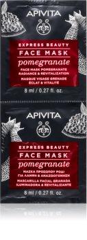 Apivita Express Beauty Pomegranate revitalizirajuća maska za posvjetljivanje lica