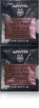 Apivita Express Beauty Pink Clay čistilna maska za obraz iz ilovice