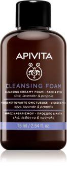 Apivita Cleansing Olive & Lavender pianka oczyszczająca do twarzy i okolic oczu