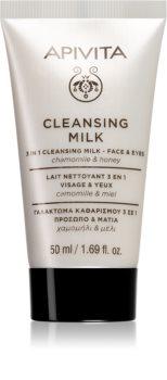 Apivita Cleansing Chamomile & Honey почистващо мляко 3 в 1 за лице и очи