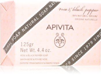 Apivita Natural Soap Rose & Black Pepper sabonete de limpeza sólido