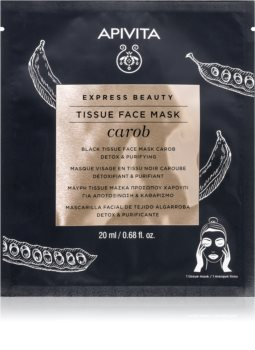 Apivita Express Beauty Carob mascarilla de tela desintoxicante con efecto humectante