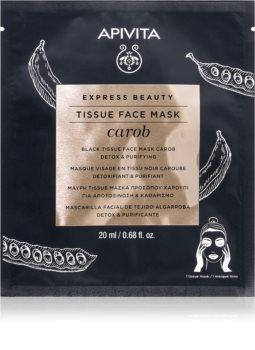 Apivita Express Beauty Carob masque en tissu détoxifiant pour un effet naturel