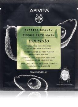 Apivita Express Beauty Avocado masque hydratant en tissu pour apaiser la peau