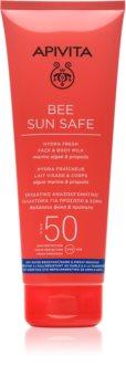 Apivita Bee Sun Safe молочко для засмаги для шкіри обличчя та тіла SPF 50