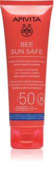 Apivita Bee Sun Safe leite solar de rosto e corpo SPF 50