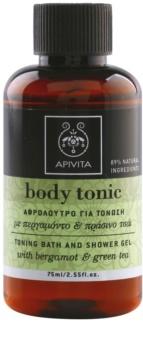 Apivita Body Tonic Bergamot & Green Tea gel de duche e banho