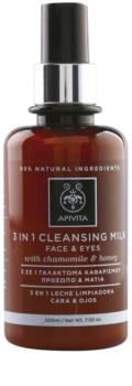 Apivita Cleansing Chamomile & Honey 3-i-1 rengöringslotion för ansikte och ögon